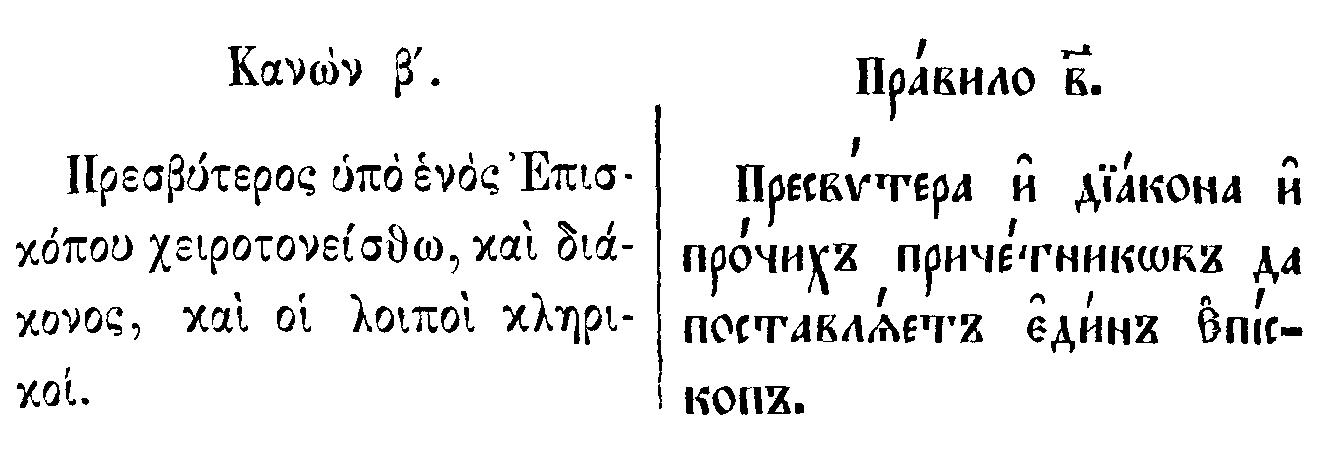 Пресвитера и диакона и прочих причетников да поставляет един епископ.